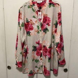 Calvin Klein floral over gingham top